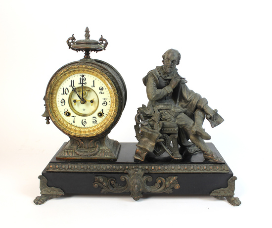"""Stunning Antique Ansonia Figural """"Macbeth"""" Mantel Clock With Porcelain Face"""