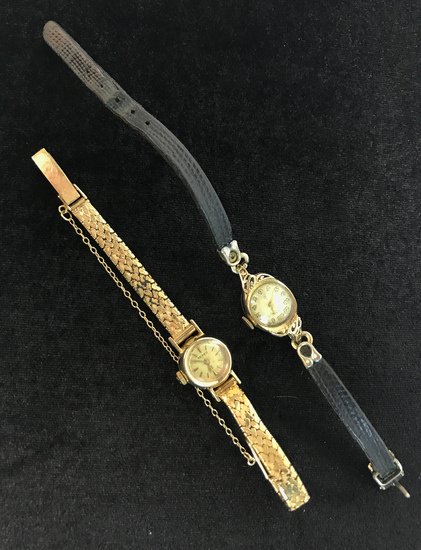 Pair of 14KT Yellow Gold Omega and Lady Elgin Antique Watches