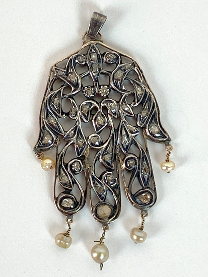 Vintage Tribal Indian Sterling Silver Hand Pendant with Pearls and Rough Cut Diamonds