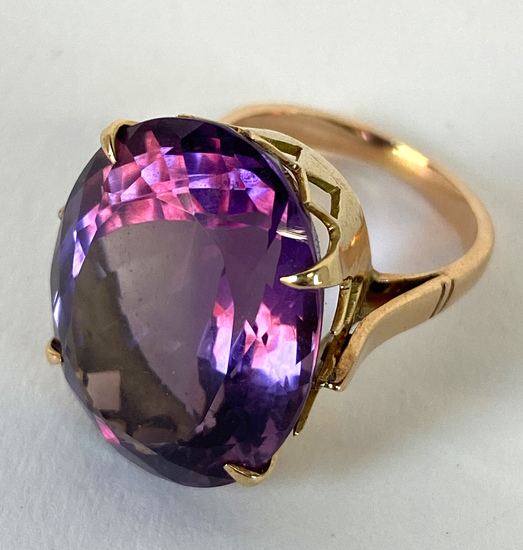 Large Faceted Oval Amethyst/Tourmaline Colored Ring Set in 14KT Yellow Gold;