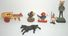 Lot of Antique Iron, Clay,  Plastic & Lead Figures - Viking, Mexican, Woodpecker, Cow w/ Cart...