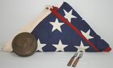 US History Lot includes American Flag, Treaty Seal Brass Skippet Box, & Civil War Era 3 Prong Forks