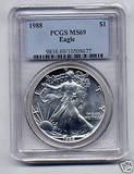1988 PCGS MS69 Silver Eagle Coin
