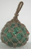 Antique Hand Blown Green Glass Marine Float with rope braid netting
