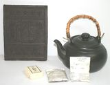 Lot of Vintage Traders China Tea Brick/Block with Assorted teas and Vintage Asian Teapot