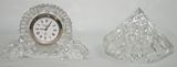 2 Pcs of Vintage Waterford Crystal Pieces - Sm Desk/Mantel Clock & Diamond Paperweight