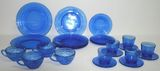 Lot of Cobalt Depression Glass Dishes - Teacups/Saucers, Teacups, Plates - 18 Pieces