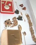 Lot of Vintage Costume Jewelry - Signed Elgin Compact, Hobe, Weiss, Sterling