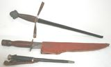 Lot of 3 Swords/daggers/knives with leather sheaths