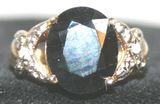 Gorgeous 9.50 Ct. Sapphire Ring w/ Diamonds in 14K Yellow Gold Mounting