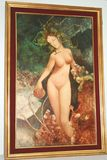 Antique Oil On Board Painting of Nude Woman - Art Nouveau