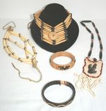 Lot of Native American Indian Bone, Wood, Leather, Weaved Jewlery