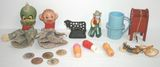 Lot of Vintage Toys; Mr. Peanut, Wooden Nickels, Avon Lipsticks, Puppets, Tin US Mail box & More