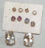 Lot of 5 Pairs of Stud Earrings W/ Assorted Stones