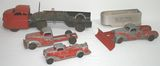 Lot of 4 Vintage Hubley Toy Trucks, Bulldozer, and Courtland Trailer