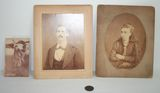 Lot of 2 Antique Photos, 1826 Liberty One Cent Coin, and Lindbergh Postcard