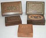Lot of 5 Antique Marquetry Inlaid Wood Dresser / Trinket Boxes with Mosaics & MOP