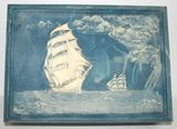Vintage Incolay Blue Stone Ship Jewelry Box