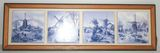 Blue & White Delft? Tile Wall Hanger w/ 4 Tiles depicting Dutch Windmill Scenes