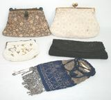 5 Antique Beaded Handbags & Purses - Signed