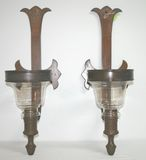 Pair of Antique Heavy Bronze/Brass Wall Sconces w/ Glass Inserts