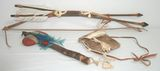 Native American Indian Bow w/ Arrows & Tomahawk, & Fur Pouch - Reenactment