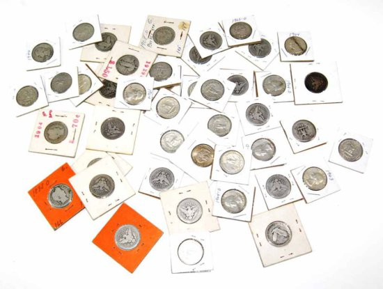 Collection of 44 Pre-1964 United States Silver Barber, Liberty, & Washington Quarters