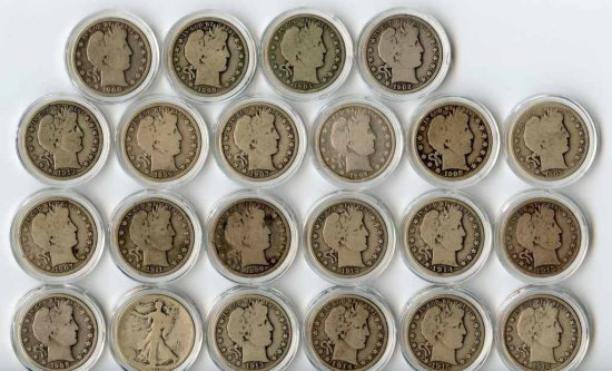 Collection of 21 United States Barber Silver Half Dollars in Circulated Condition