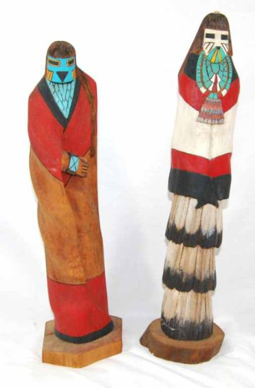 Pair of Carved Wood Native American Hopi Kachina Dolls