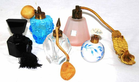 Lot of 5 Vintage Perfume Bottles – Porcelain & Glass w/ Atomizers