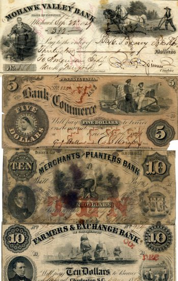 Collection of 3 Civil War Era $5, $10 Bank Notes and a Cancelled Mohawk Valley Bank Check