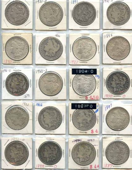 Collection of 20 United States Morgan Silver Dollars