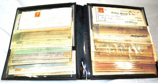 Collection of Approximately 60 US Bank Checks Dating from the late 1800's to Early 1900's