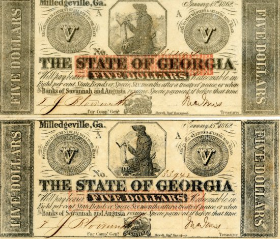 """2 Rare Civil War $5 Dollar Notes """"The State of Georgia"""" Milledgeville - 1862"""