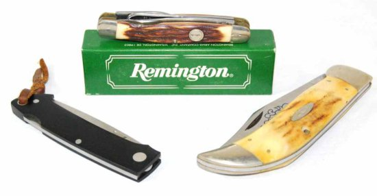 Collection of Knives including a Case XX 5172 SSP, A.G.Russell 154 CM, and a Remington R-1