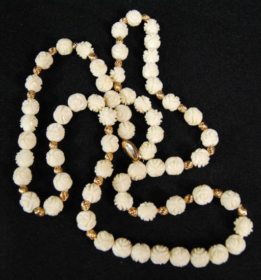 Vintage Carved Bone / Ivory Carved Necklace w/ 14K Gold