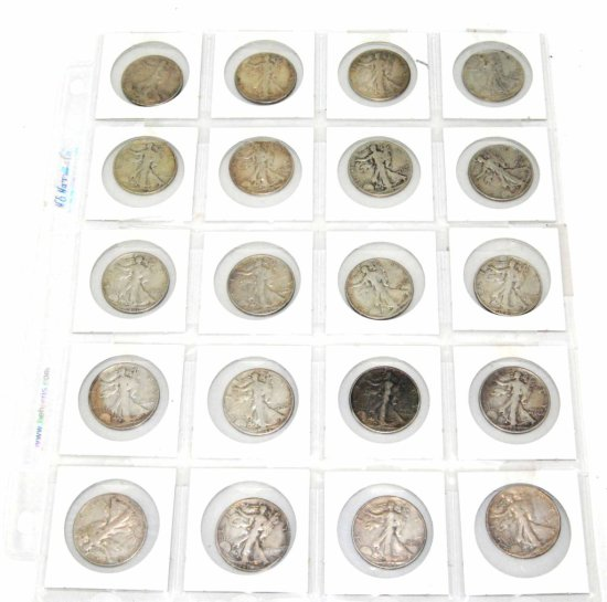 Collection of 20 United States Silver Walking Liberty Half Dollars