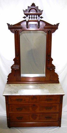 Antique Walnut Eastlake Marble-top Dresser w/ Mirror