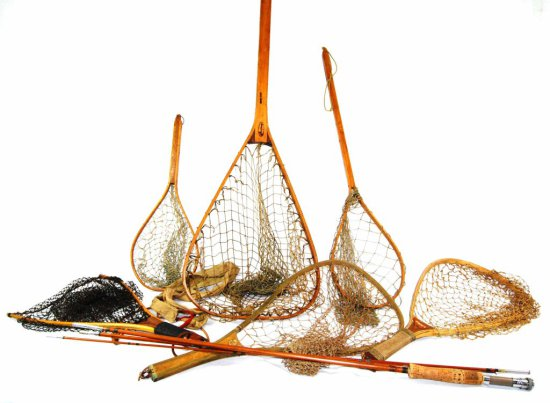 Collection of 6 Antique Bent Wood Fly Fishing Nets & a Fly Fishing Pole