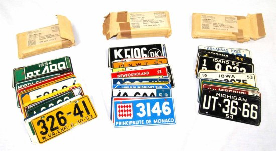 Collection of 80 General Mills Collectible Miniature US & World License Plates