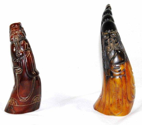 Pair of Vintage Asian Carved Horn Figural Sculptures