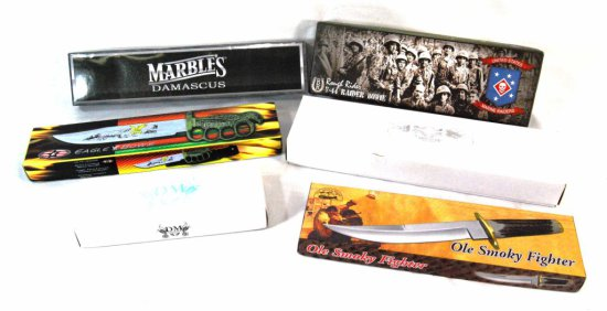 Collection of 6 New Bowie Style Knives w/ Original Boxes & Sheaths