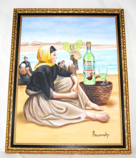 Absente Absolute Vodka Artist, John Pacovsky, Original Oil on Canvas Painting