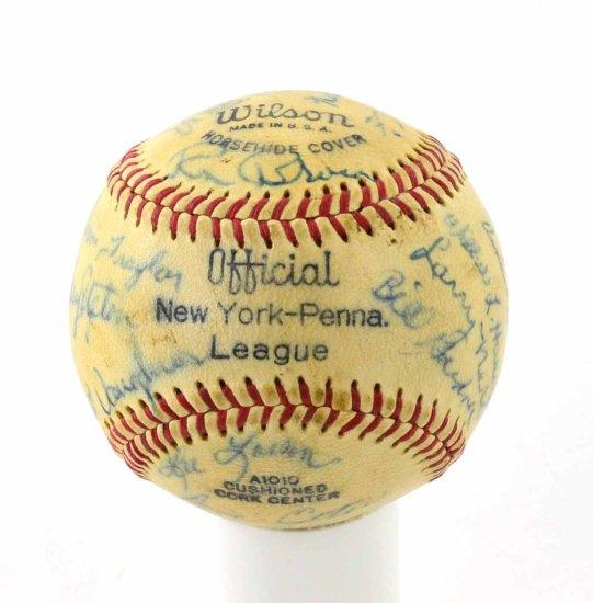Vintage 1968 Newark Co-Pilots PA League Autographed Wilson Baseball, 28 Signatures