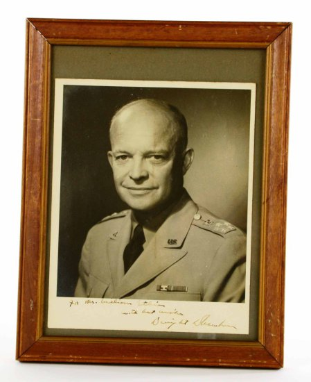 "Original Dwight D Eisenhower Autographed Photo in US Dress ""5 Star General"""