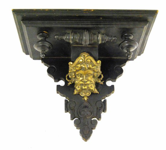 Antique Hand Carved Figural Wall Shelf w/ Bronze Face Accents