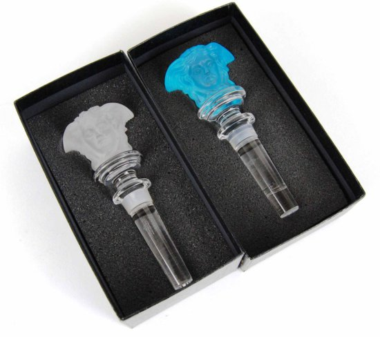 Pair of Rosenthal Versace Leaded Crystal Bottle Stoppers w/ Box – 1 Clear & 1 Blue