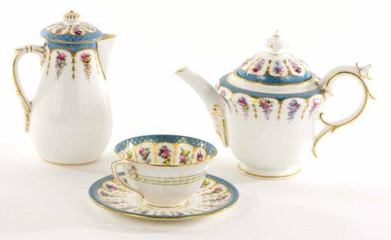 Antique Set of Royal Worcester English China Tea Pot w/ Creamer, Cup, & Saucer