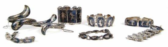 Collection of 8 Vintage Sterling Silver Siam Nielloware Mekkala Bracelets Jewelry