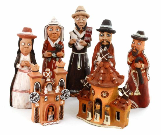 Collection of 7 Santo Domingo Clay Figural Pottery Pieces